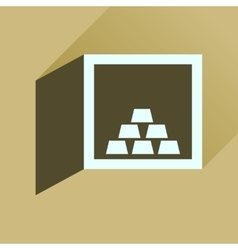 Flat icon with long shadow gold in safe vector
