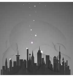 Abstract city with stars vector