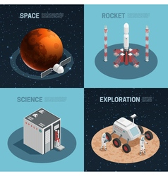 Rocket space isometric icon set vector