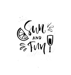 Sun and fun lettering vector