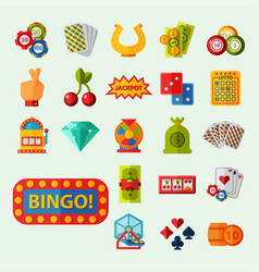Casino game icons poker gambler symbols blackjack vector