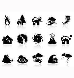 Natural disaster icons set vector