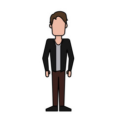 Colorful caricature image faceless man with jacket vector