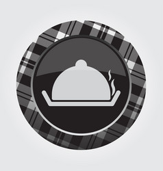 Button white black tartan - serving tray with lid vector