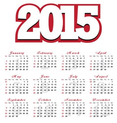 Calendar for the year 2015 vector