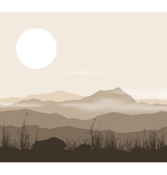 Landscape with grass and mountains over sunset vector