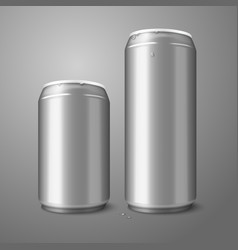 Two blank aluminium beer cans isolated on gray vector