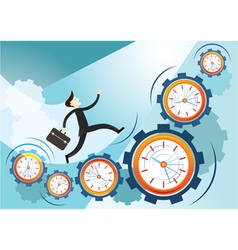Businessman run on gears and clocks vector