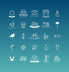 Summer holidays icon set line art vector