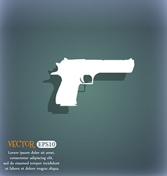 Gun icon symbol on the blue-green abstract vector