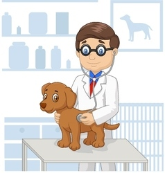 Cartoon veterinary examining dog vector