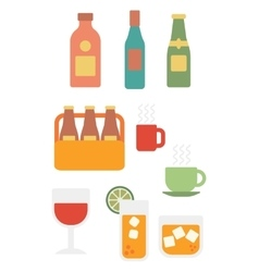 Various glasses and bottles of alcohol and cups of vector