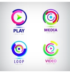 Set of play logos media video vector