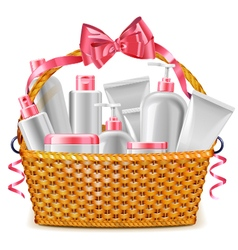Gift basket with cosmetics vector