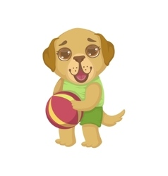 Puppy holding the ball vector