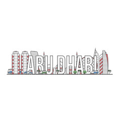 Abu dhabi travel lettering in linear style vector