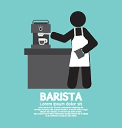 Barista working with espresso machine vector