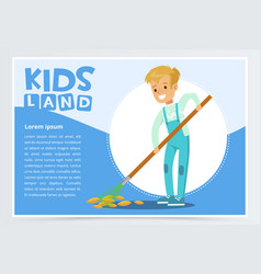 Boy raking fall leaves in garden eco concept vector