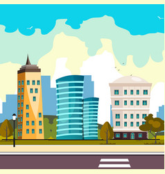 buildings city flat cartoon style modern vector image vector image
