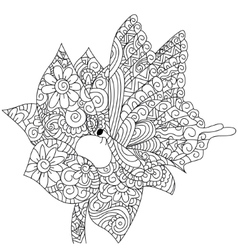 Butterfly on a flower coloring book for vector
