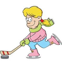 Cartoon girl playing hockey vector image