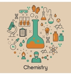 Chemistry line art thin icons set with dna vector