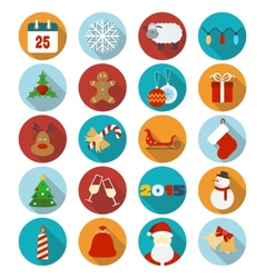 Christmas flat icons set vector image vector image