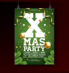 christmas party flyer design with holiday vector image vector image