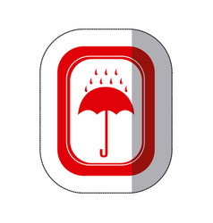 Color rain with umbrella emblem icon vector