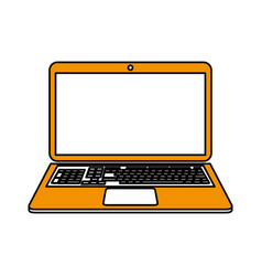 Color silhouette cartoon ochre laptop computer vector