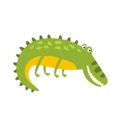 Crocodile laying on the side flat cartoon green vector