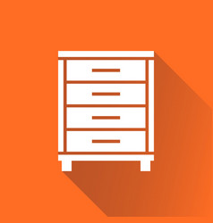 Cupboard icon on orange background with long vector