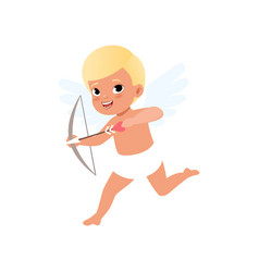 cute blonde baby cupid character shooting a bow vector image