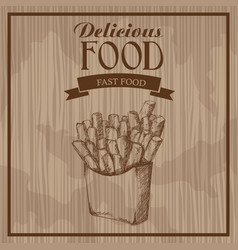 Delicious food french fries fast food hand drawn vector