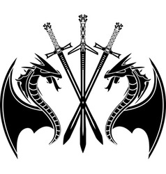 dragons and swords stencil vector image