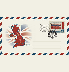 Envelope with map and flag of great britain vector