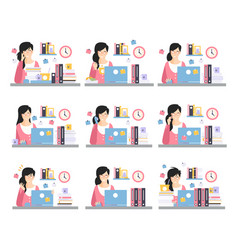 female office worker daily work scenes with vector image