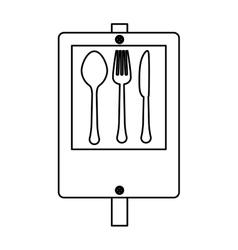 Figure signal restaurant near icon design vector