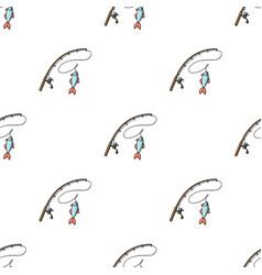 Fishing rod and fish icon in cartoon style vector