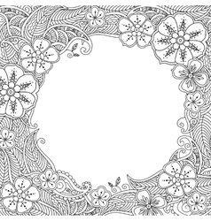 Floral hand drawn round frame in zentangle style vector