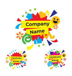 Funny and happy party logo modern holiday vector