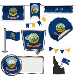 Glossy icons with Idahoan flag vector image vector image