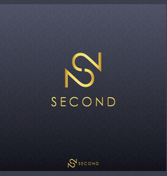 gold letter s and double number 2 logo concept vector image
