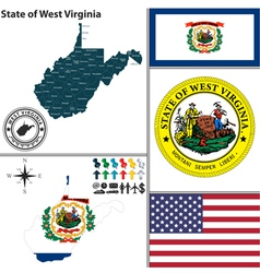 Map of west virginia with seal vector
