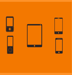 Mobile phones and tablets on an orange background vector