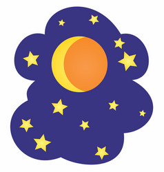 moon and stars cartoon vector image