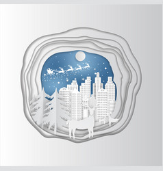Paper art carving of winter holiday snow in town vector