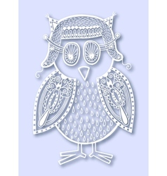 Paper cute of doodle owl vector