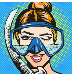 Pop art of woman in scuba vector