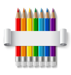 Rainbow color pencils and curled paper sheet with vector image